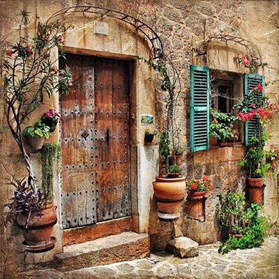 DOORWAY, TRELLIS, STEP, PLANTS, CHARMING, STONE, EUROPEAN, SHUTTERS, POTS, HOUSE, EXTERIOR