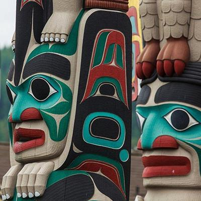 TOTEMPOLE, NATIVE, CARVED, CUSTOM, AMERICAN, PAINTED, ETHNIC, RITUAL, SYMBOLIC