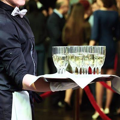 RECEPTION, BOWTIE, PARTY, FUNCTION, CATERING, TRAY, CHAMPAGNE, WAITER, ROPE