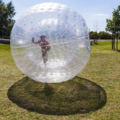 GLOBE, BALL, ZORBING, TRANSPARENT, INSIDE, ROLLING, SHADOW, PARK, INFLATABLE, TREES
