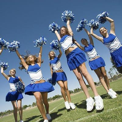 CHEERLEADERS, WOMEN, EXCITED, SKIRTS, GROUP, COSTUME, POMPOMS, FIELD, TEAM