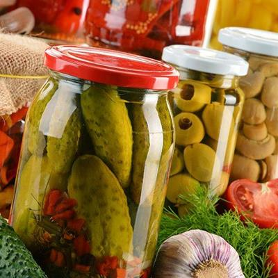 PICKLES, JARS, CUCUMBER, LIDS, TOMATO, VINEGAR, OLIVES, GARLIC, GHERKINS, BRINE, GLASS