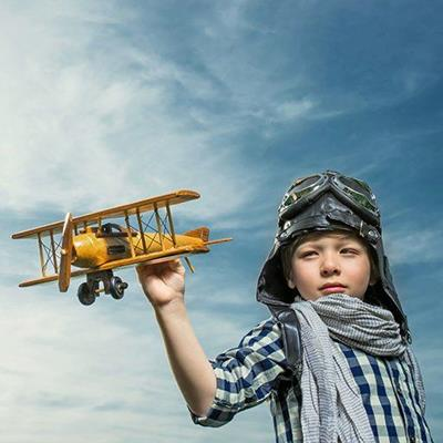 AIRPLANE, MODEL, PROPELLER, WINGS, SCARF, WOODEN, GOGGLES, FLYING, HELMET, BOY, PRETEND