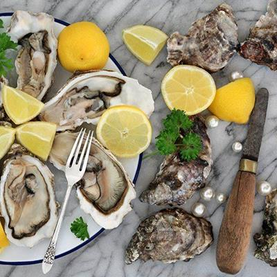 OYSTERS, LEMON, FORK, PEARLS, BIVALVE, KNIFE, PARSLEY, SHELLS, TINPLATE, EXPENSIVE
