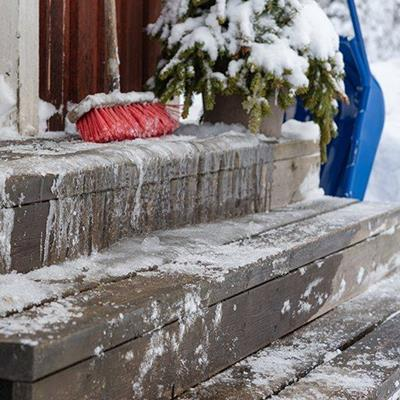STEPS, ICICLES, BRUSH, WOODEN, FROZEN, HAZARD, BROOM, BUSH, SNOW, SLEDGE, WINTER