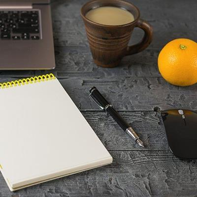PEN, MUG, KEYBOARD, LAPTOP, SPIRALS, HOTDRINK, ORANGE, NOTEPAD, COFFEE, MOUSE, PAPER, NIB