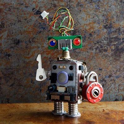 ROBOT, KEY, PADLOCK, WIRES, CONNECTOR, PARTS, SCRAP, FIGURE, MACHINE, TOY, KEYHOLE