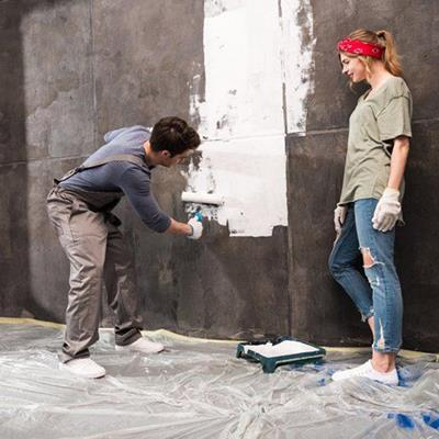 DECORATING, ROLLER, DUSTSHEET, WHITE, COUPLE, PAINT, TRAY, GLOVES, HEADBAND, PONYTAIL, WALL