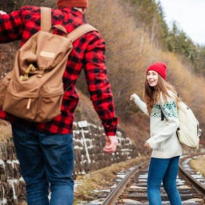 WALL, KNAPSACK, SHIRT, JEANS, BEANIEHAT, SMILE, PLAID, FUN, HIKERS, RAILWAY, ZIPPER, STRAPS, SNOW