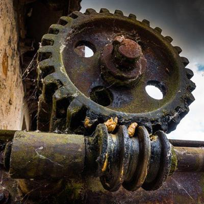 COBWEB, COG, MECHANISM, METAL, DRIVE, TEETH, GEAR, GREASE, HELIX, RUST, SCREW, THREAD, WHEEL