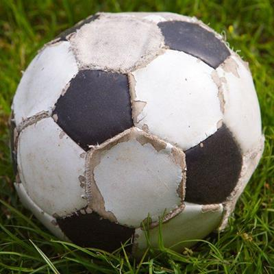 BLACK, WHITE, PENTAGON, WORN, STITCHING, SOCCER, FOOTBALL, HEXAGON, LEATHER, GRASS, SPORT
