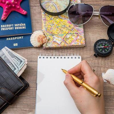 NOTEBOOK, PEN, WALLET, COMPASS, SUNGLASSES, MONEY, PASSPORT, SHELL, STARFISH, MAGNIFIER, TRAVEL